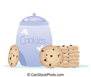 an illustration of a blue pot cookie jar and lid with a stack of delicious chocolate chip cookies at the side on a white background