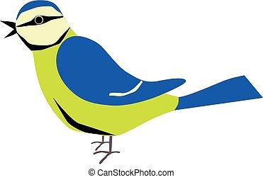 An illustration of a blue tit