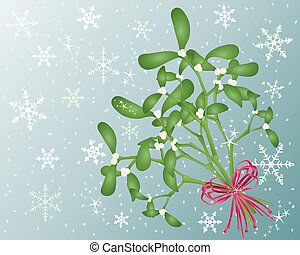 an illustration of a bouquet of mistletoe tied with satin red ribbon on a snowflake background