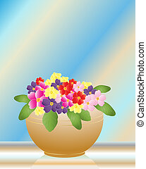 primroses - an illustration of a bowl of colored primroses ...