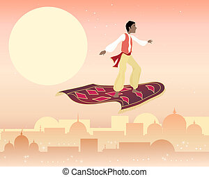 magic carpet - an illustration of a boy on a magic carpet...