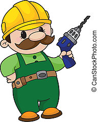 An illustration of a builder with a drill