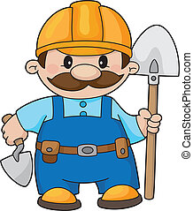 builder with a shovel - An illustration of a builder with a...