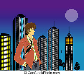 Businessman in front of skyline - an illustration of a...