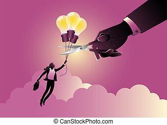 A businesswoman flying on idea balloon