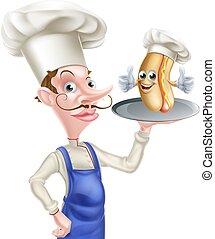 Cartoon Chef Holding Hot Dog on Tray