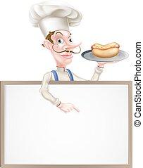 Cartoon Chef Holding Hotdog Pointing at Sign
