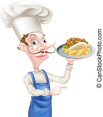 Cartoon Chef With Pita Kebab and Fries - An Illustration of...