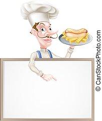Cartoon Hotdog Chef Above Sign
