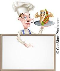 Cartoon Kebab Chef Menu Board