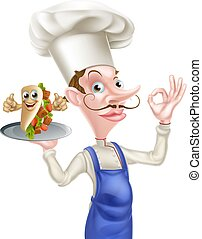 Cartoon Kebab Chef - An Illustration of a Cartoon Kebab Chef