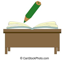 An illustration of a cartoon pencil writing in a book