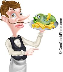An Illustration of a Cartoon Waiter Butler Holding Fish and Chips