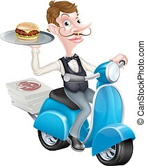 Cartoon Waiter on Scooter Moped Delivering Burger