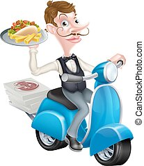 Cartoon Waiter on Scooter Moped Delivering Kebab