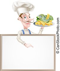 Chef Holding Fish and Chips Pointing at Sign