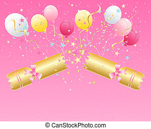an illustration of a christmas cracker snapping open with stars streamers balloons and confetti on a pink background