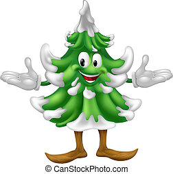 Christmas tree mascot character - An illustration of a...