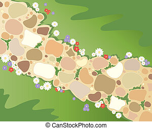 garden path - an illustration of a cobbled garden path ...