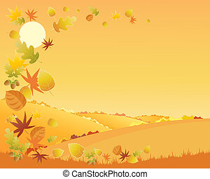 autumn landscape - an illustration of a colorful autumn...