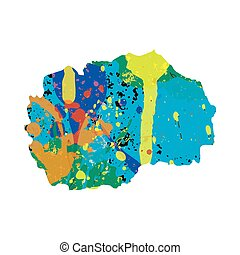 Illustration of a colourfully filled outline of Macedonia -...