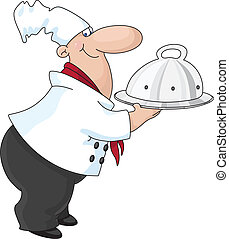 cook - An illustration of a cook with a tray