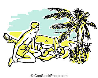 An illustration of a couple having fun in the sun on vacation