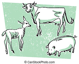 An illustration of a cow