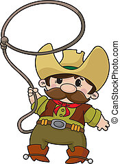 An illustration of a cowboy with lasso