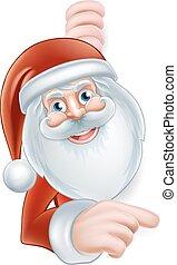 Cartoon Santa Pointing