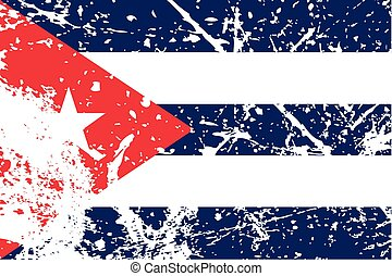 Illustration of a decayted flag of Cuba - An Illustration of...