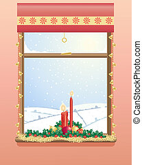 christmas window - an illustration of a decorated christmas ...