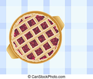 an illustration of a delicious freshly baked cherry pie topped with pastry strips on a blue checked tablecloth