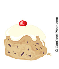 iced bun - an illustration of a delicious fruity iced bun...
