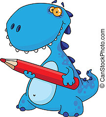 dinosaur with a pencil