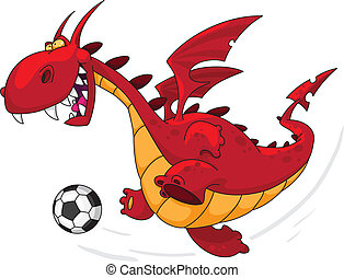 An illustration of a dragon footballer