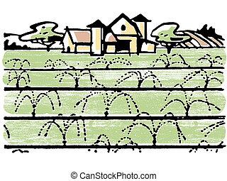 An illustration of a farmhouse