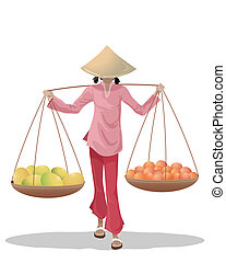 an illustration of a female asian fruit seller carrying baskets dressed in traditional clothing on a white background