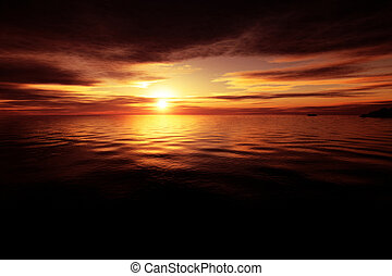 An illustration of a golden ocean sunset