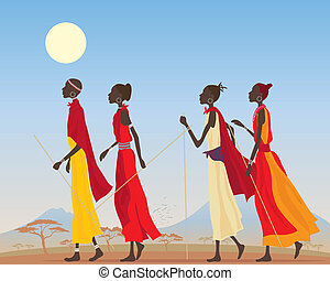 masai women - an illustration of a group of masai women ...