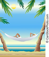 hammock - an illustration of a hammock tied between two palm...