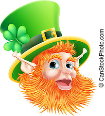 An illustration of a happy St Patricks Day Leprechaun Face