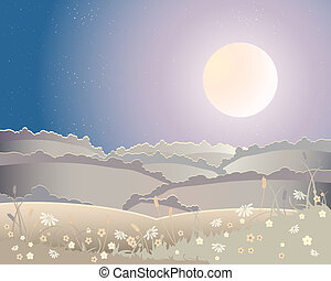 an illustration of a harvest moon landscape with rolling hills and flowers under a starry sky