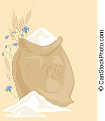 an illustration of a hessian sack of flour with ears of wheat and wildflowers on a beige background