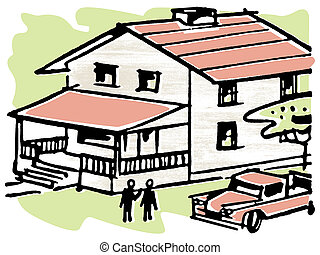 An illustration of a home with a Ute in the driveway
