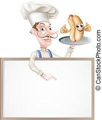Hotdog Cartoon Chef Signboard