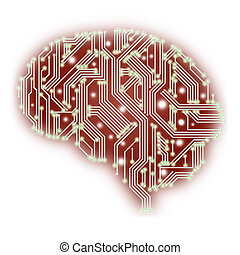 An illustration of a human brain shaped circuit board...