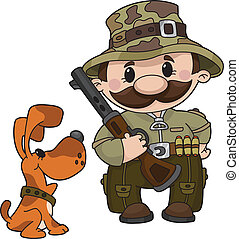hunter and dog - An illustration of a hunter and dog