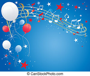 an illustration of a july fourth celebration background with musical notes balloons sparkles and stars in red white and blue