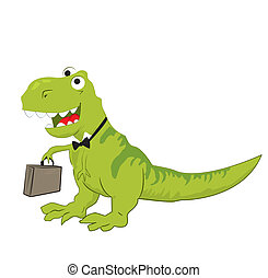 An illustration of a laughing dinosaur